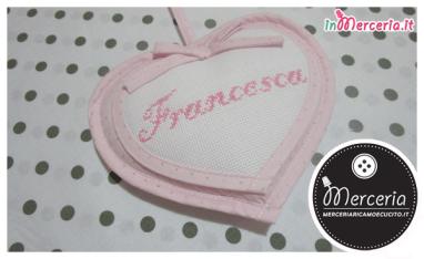 Fiocco nascita macchina rosa con orsetto e cicogna per Francesca