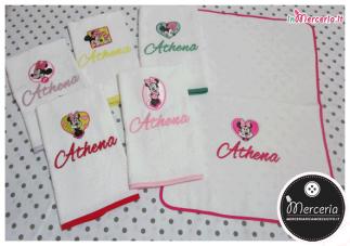 Set Asilo - Sacchetto e ascigamani Minnie per Athena