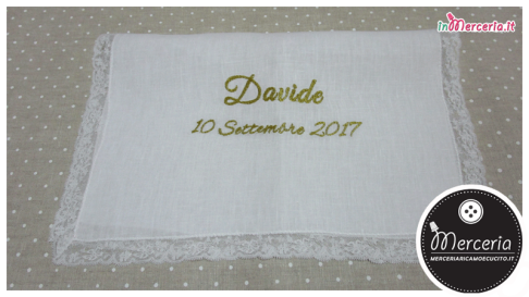 Asciugamano in lino con merletto per Davide