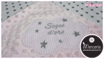Copertina neonato in ciniglia con bolle e nuvoletta Sogni D'oro