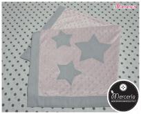 Copertina neonato in ciniglia con bolle e stelle