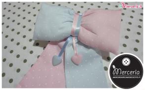 Fiocco nascita per gemelli bicolore celeste e rosa