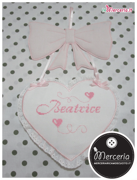 Fiocco nascita con cuore rosa per Beatrice