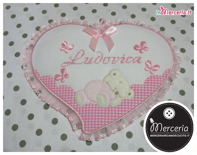 Fiocco nascita cuore rosa con orsetto per Ludovica