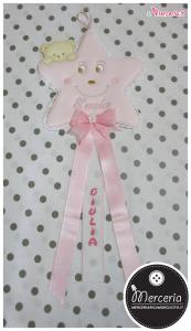 Fiocco nascita stellina rosa con orsetto per Giulia
