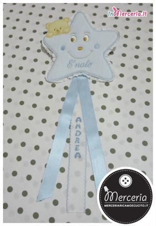 Fiocco nascita stellina e busta portaoggetti trapuntata per Andrea