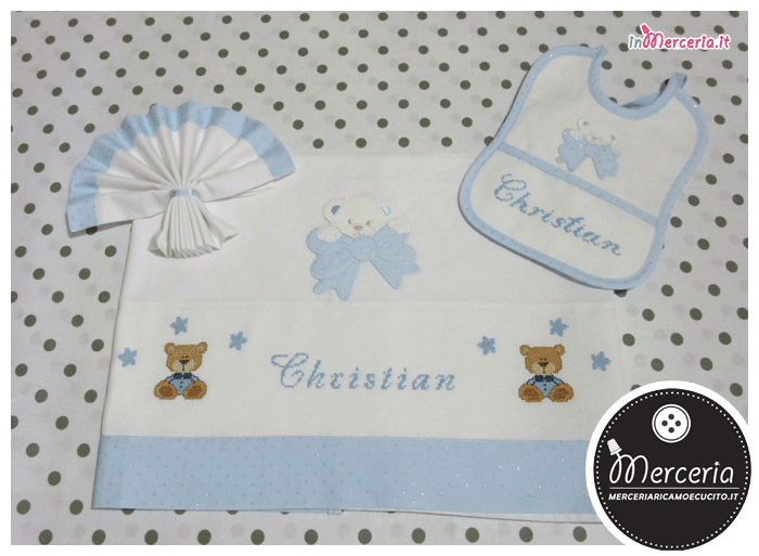 Bavetta e lenzuolino culla con orsetto strass per Christian