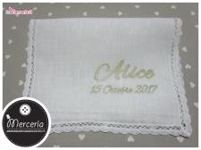 Camicina bavaglino e asciugamano battesimo in lino per Alice