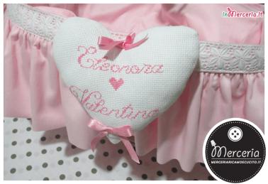 Cestino nascita con cuori per Eleonora e Valentina