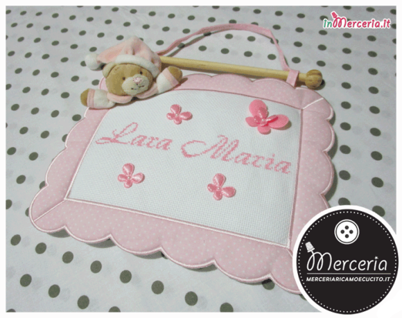 """Fiocco nascita quadretto rosa con orso per """"Lara Maria"""""""