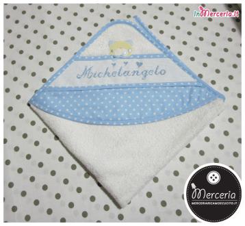 Accappatoio neonato con orsetto e cuori per Michelangelo