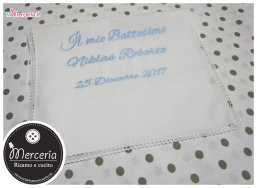 Asciugamano battesimo in cotone e copertina bolle con orsetto per Niklas