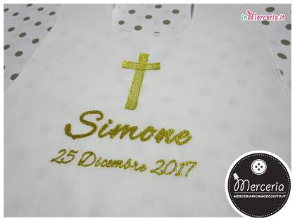 Bavaglino tunica battesimale in lino per Simone