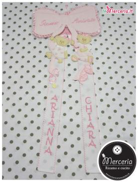 """Fiocco nascita rosa """"Siamo Arrivate"""" per le gemelle """"Arianna"""" e """"Chiara"""""""