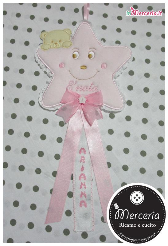 Fiocco nascita stellina rosa per Arianna