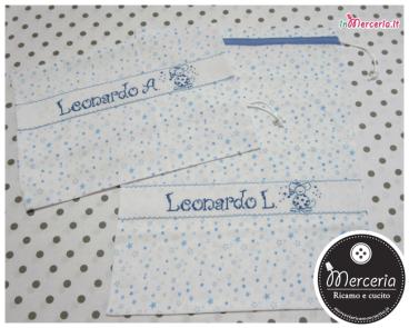 Sacchetti nascita e asilo con stelline per Leonardo