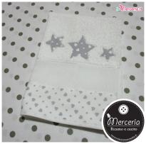 Set asilo cuori con stelle - Sacchetto, asciugamano e bavetta