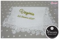 Camicina Battesimo e asciugamano in lino con angioletto per Virginia