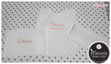 """Camicina e asciugamani battesimo in lino per """"Clarissa"""""""