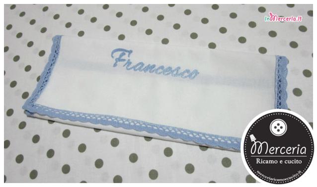 Camicina e asciugamano battesimo in cotone per Francesco