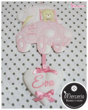 Fiocco nascita macchina rosa con orsetto e cicogna per Eva