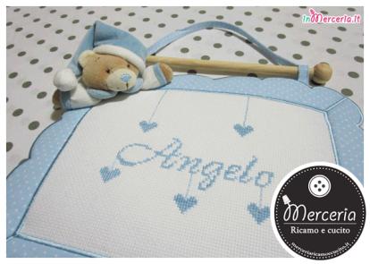 Fiocco nascita quadretto celeste con orso per Angelo