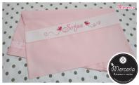 Fiocco nascita rosa con orsetto su palloncini cuore e sacchetto farfalla per Sofia