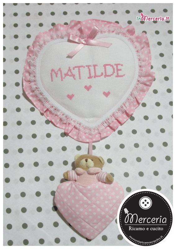 Fiocco nascita cuore pois rosa con orsetto per Matilde