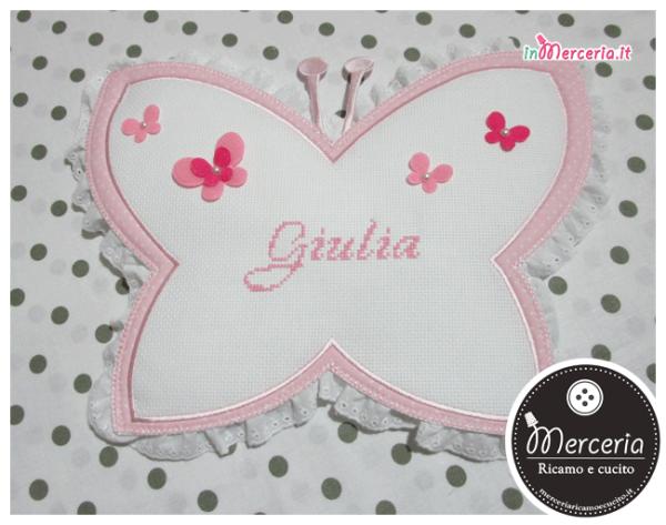 Fiocco nascita farfalla pois per Giulia