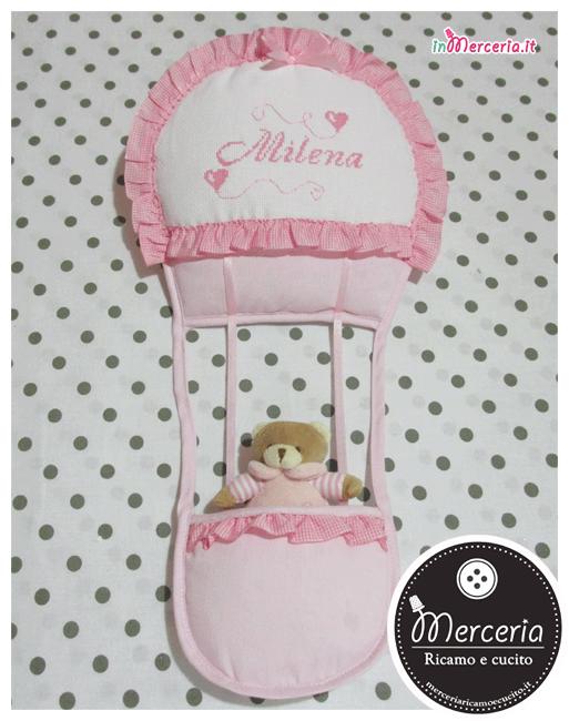Fiocco nascita mongolfiera rosa per Milena