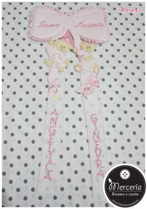 """Fiocco nascita rosa """"Siamo Arrivate"""" per le gemelle """"Angelica"""" e """"Ginevra"""""""