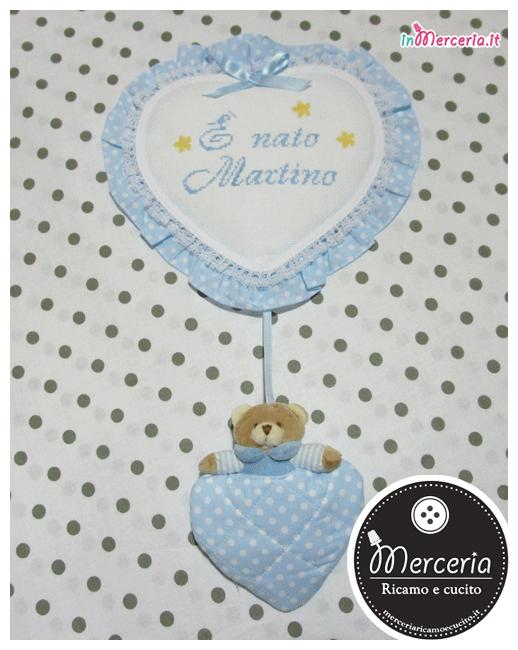 Fiocchi nascita macchina e cuore pois con orsetto per Martino