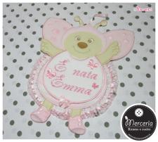 Fiocco nascita coccinela rosa e sacchetto trapuntato con Minnie per #Emma