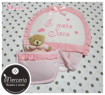 Fiocco nascita mongolfiera rosa È nata Sara