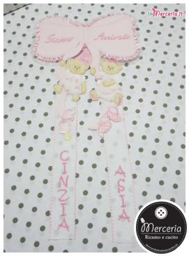 """Fiocco nascita rosa """"Siamo Arrivate"""" per le gemelle """"Cinzia"""" e """"Asia"""""""