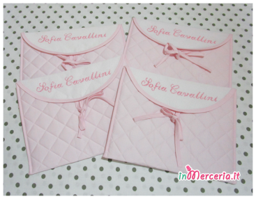Buste trapuntate rosa personalizzate per Sofia