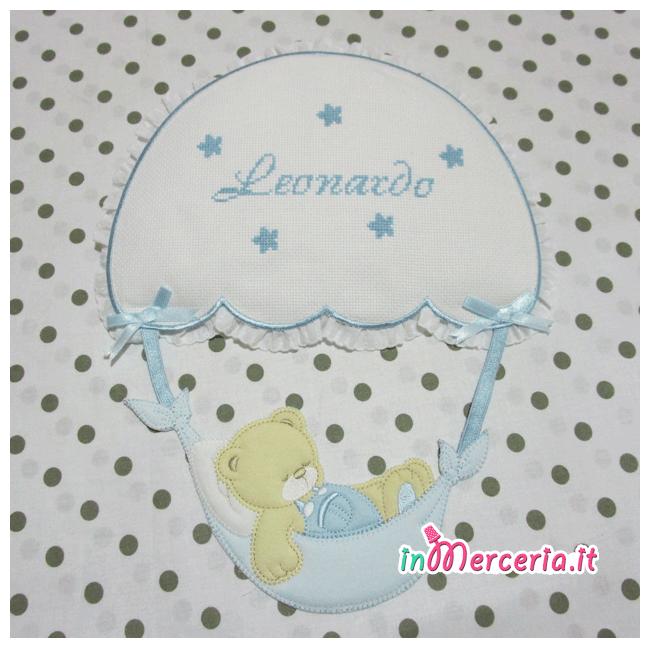 Fiocco nascita con orsetto su paracadute per Leonardo