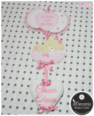 """Fiocco nascita rosa con palloncini """"È nata una bimba"""" con cuore pendente per Chiara Elenia"""
