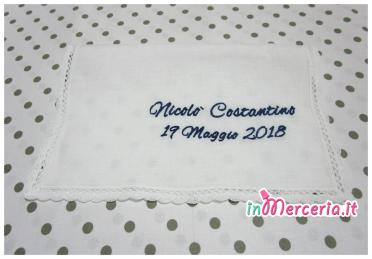 Asciugamano in lino con merletto per Nicolò
