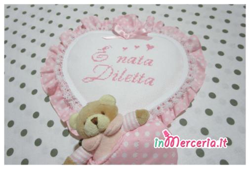 """Fiocco nascita cuore rosa pois con orsetto """"È nata Diletta"""""""