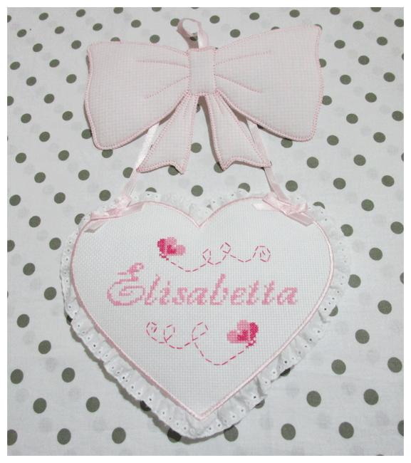 Fiocco nascita rosa con cuore per Elisabetta