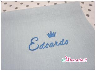 Lenzuolino neonato con nome Edoardo e corona