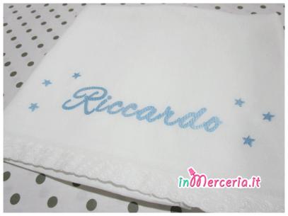 Set Lenzuolino neonato in lino con stelline per Riccardo