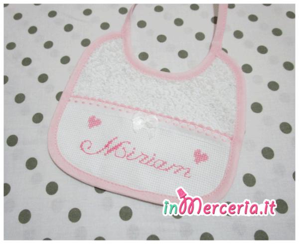 Bavetta prima misura rosa con merletto per Miriam