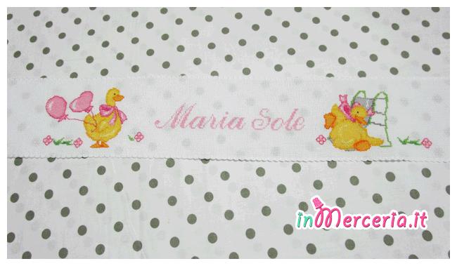 Bordura per lenzuolino con paperette per Maria Sole