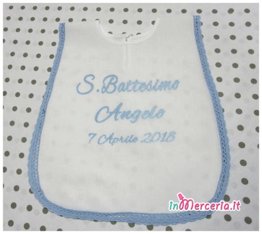Camicina bavaglino per battesimo in cotone per Angelo
