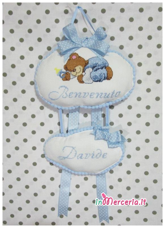"""Fiocco nascita con nuvolette con orsetto """"Benvenuto Davide"""""""
