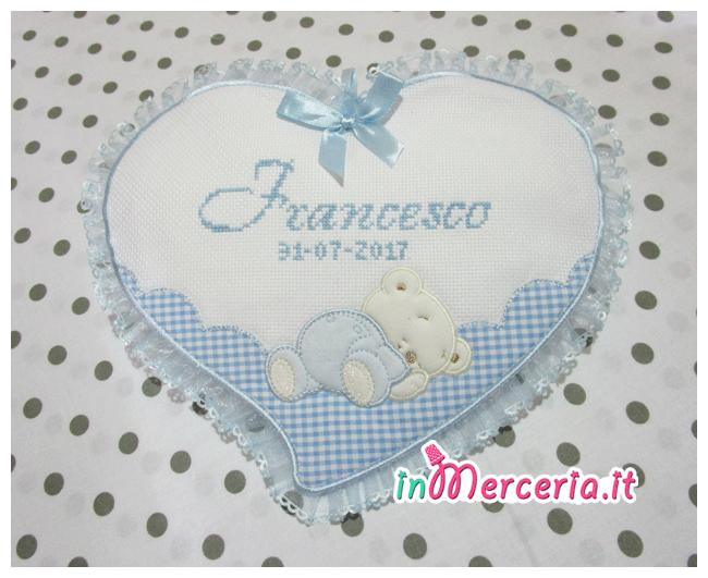 """Fiocco nascita cuore celeste per """"Francesco"""""""