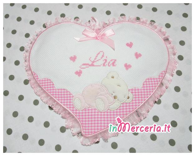 """Fiocco nascita cuore rosa per """"Lia"""""""