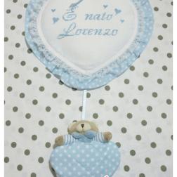Set nascita - Fiocco nascita pois con orsetto, copertina con orsetto strass e bavetta con clip per Lorenzo